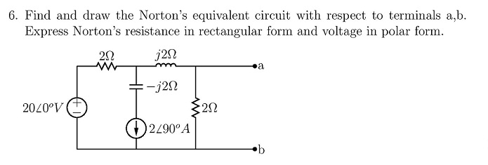 Find and draw the Norton's equivalent circuit with