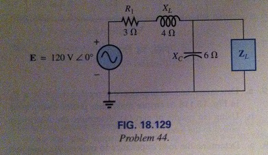 Find the load impedance ZL for the network of Fig.