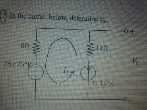 in the circuit below, determine V0.