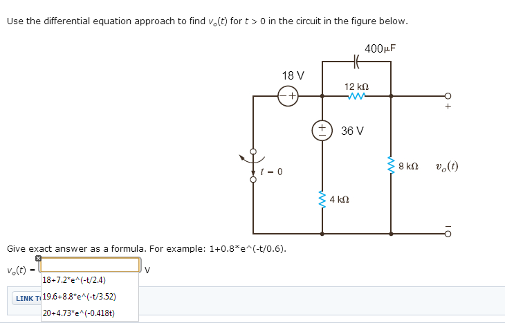 Use the differential equation approach to find vo(