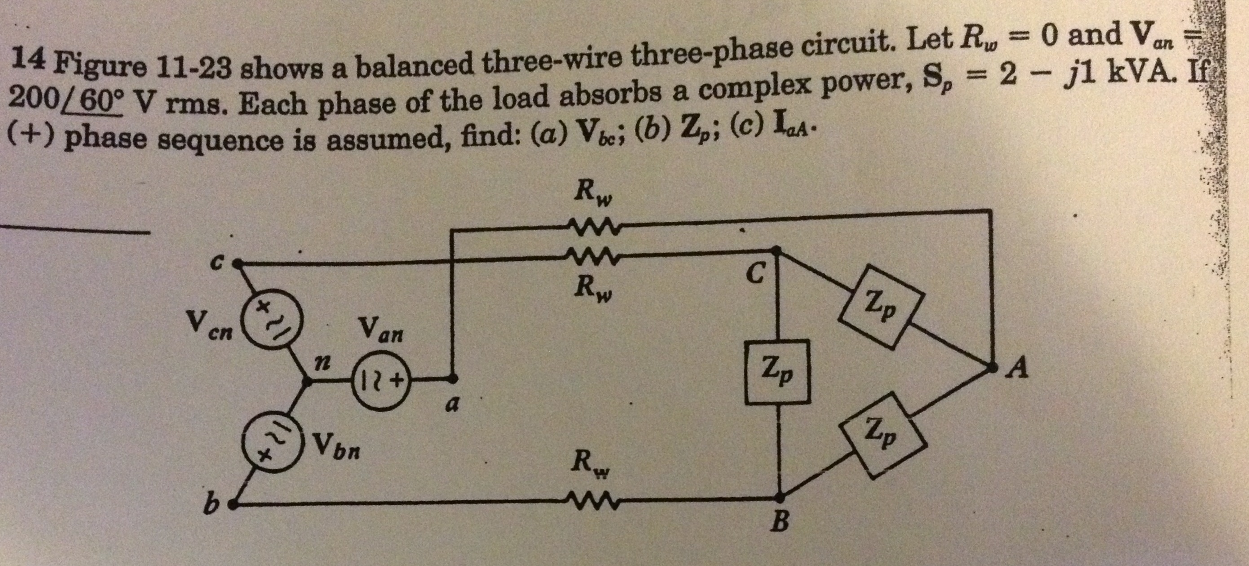 Figure 11-23 shows a balanced three-wire three-pha