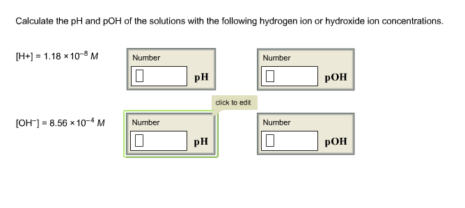 Calculate The PH And POH Of The Solutions With The... | Chegg.com