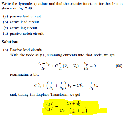 Write the dynamic equations and find the transfer