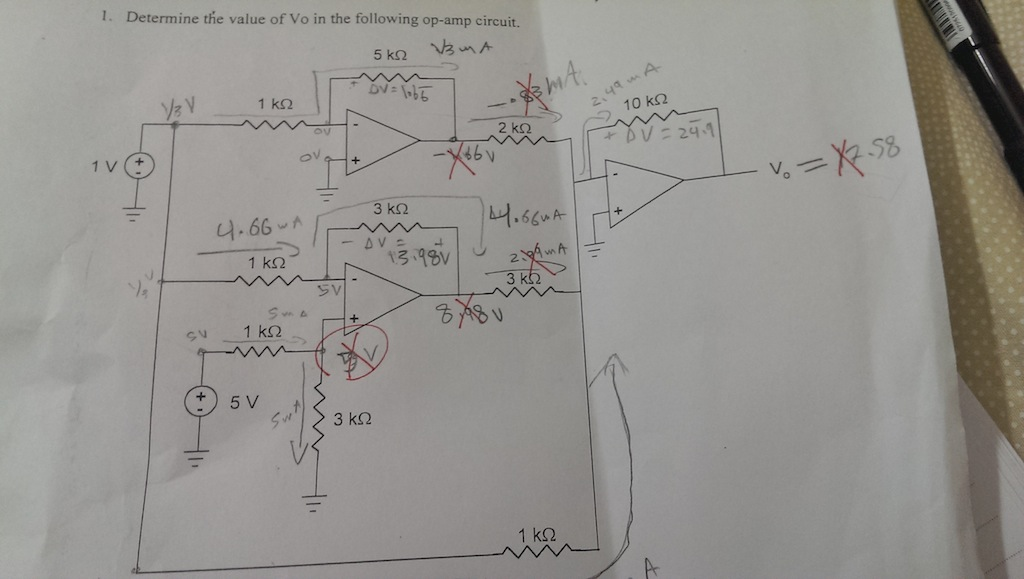 Determine the value of Vo in the following op-amp