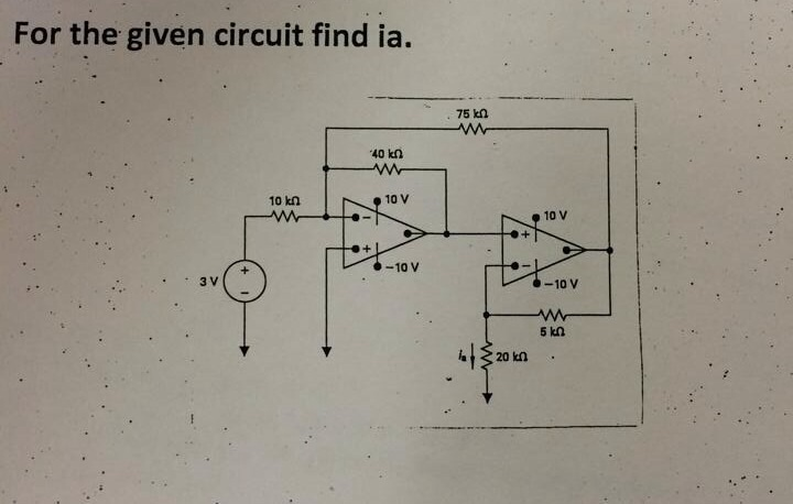 For the given circuit find ia.