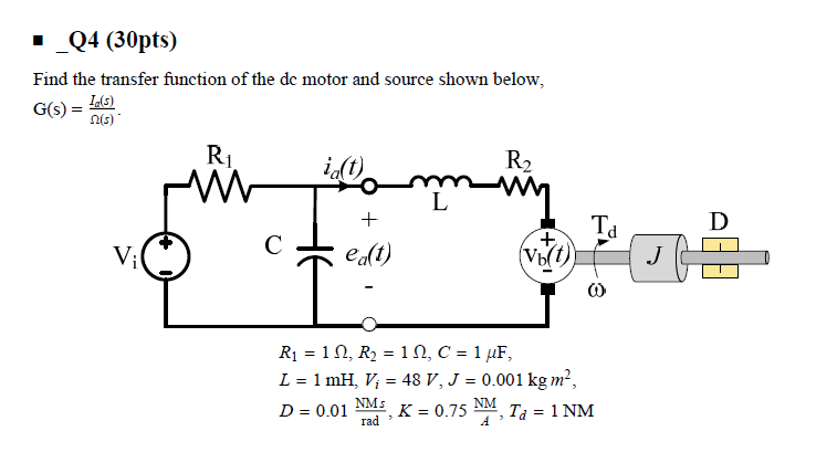 Solved Find The Transfer Function Of The Dc Motor And Sou