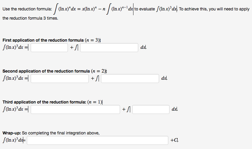 Use the reduction formula integral ln xn dx chegg use the reduction formula integral ln xn dx sciox Choice Image