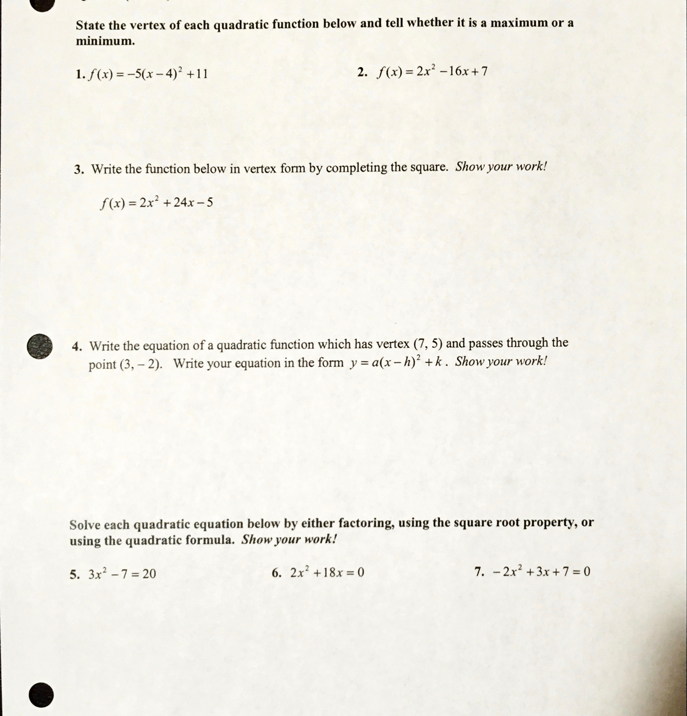 Solved state the vertex of each quadratic function below question state the vertex of each quadratic function below and tell whether it is a maximum or a minimum falaconquin