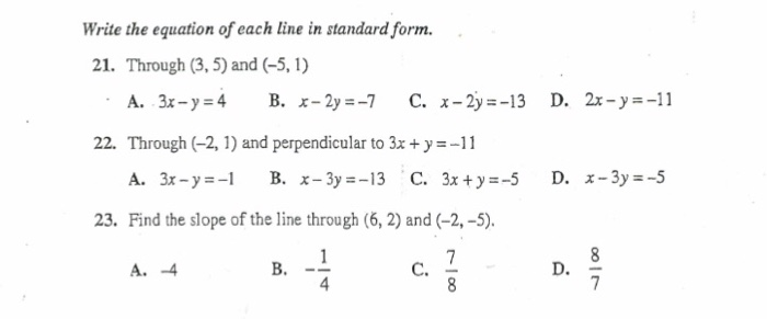 Solved Write The Equation Of Each Line In Standard Form