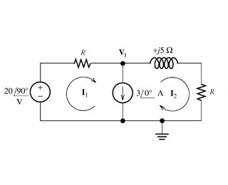 solve for the node voltage V1. Assume R=8ohms