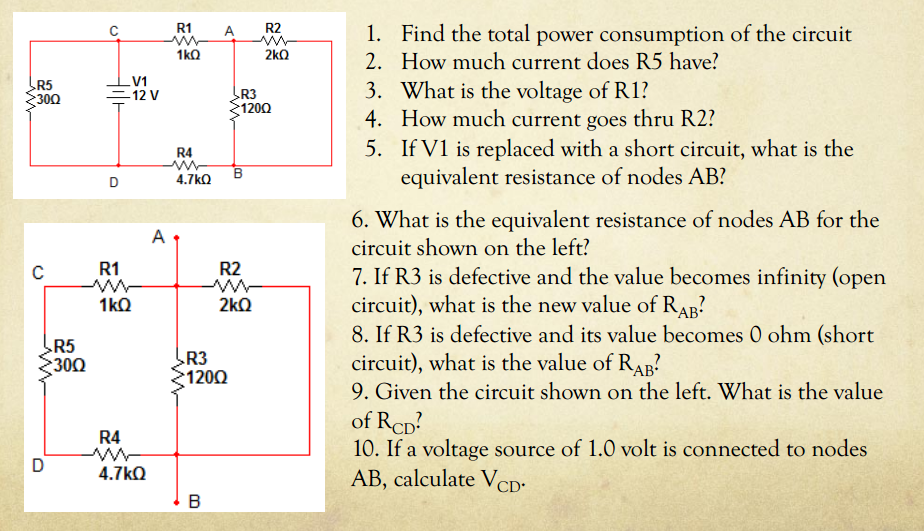Find the total power consumption of the circuit H
