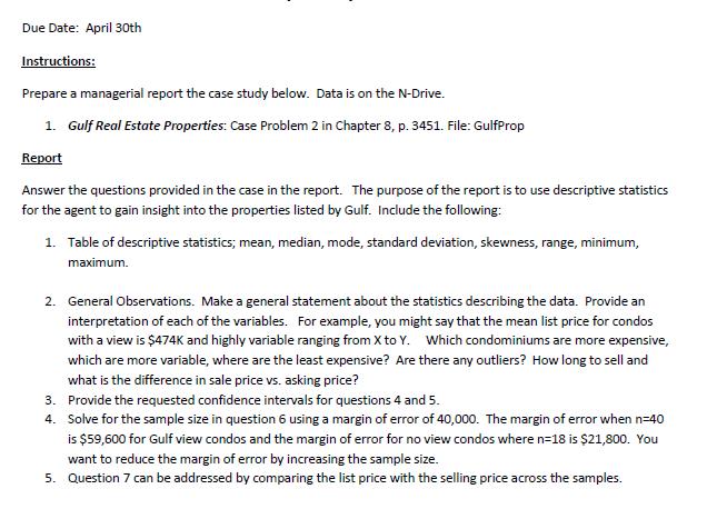 gulf real estate properties descriptive statistics