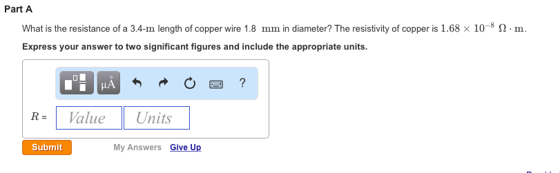 Solved what is the resistance of a 34 m length of copper image for part a what is the resistance of a 34 length of copper keyboard keysfo Image collections