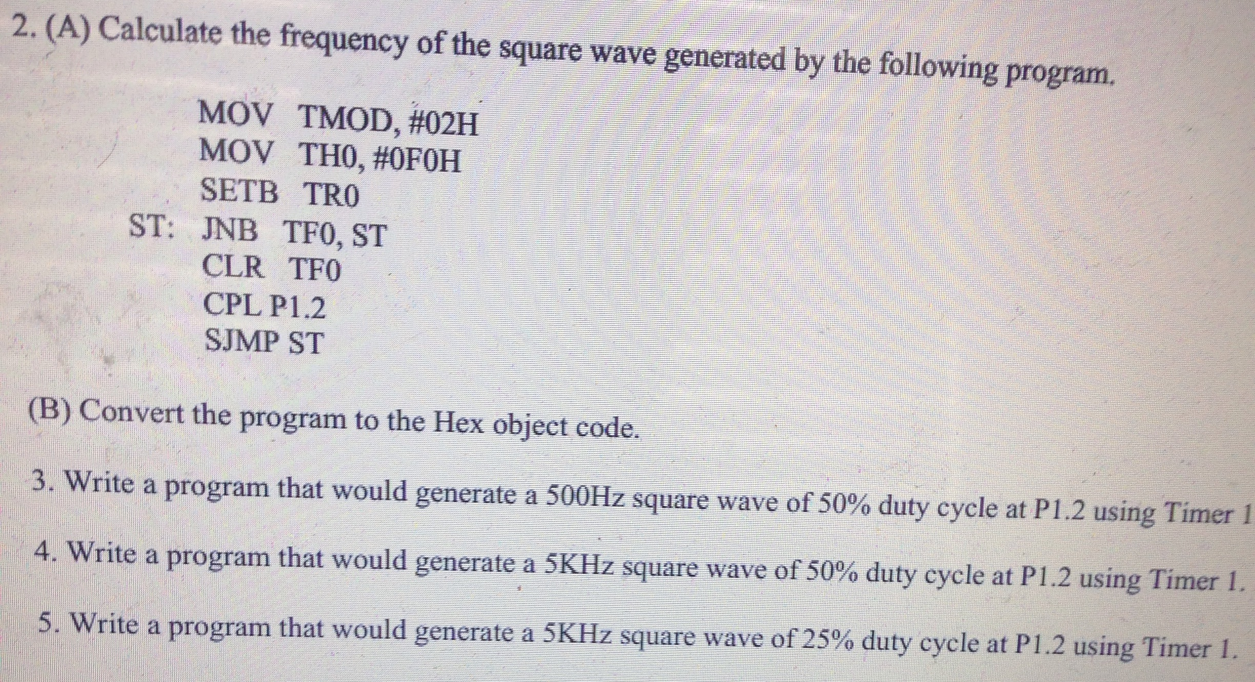 Calculate the frequency of the square wave generat