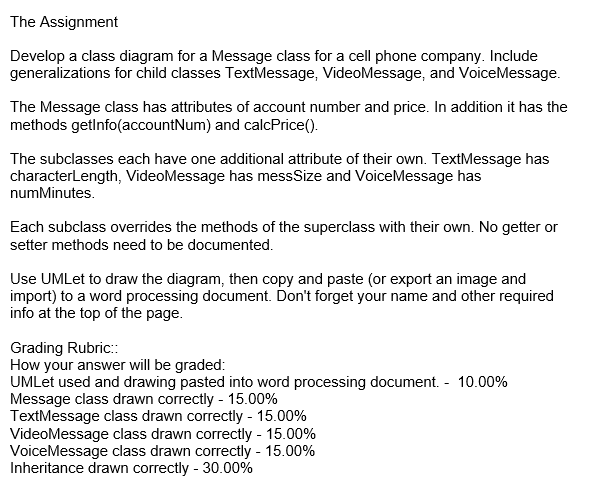 Solved the assignment develop a class diagram for a messa the assignment develop a class diagram for a message class for a cell phone company ccuart Images