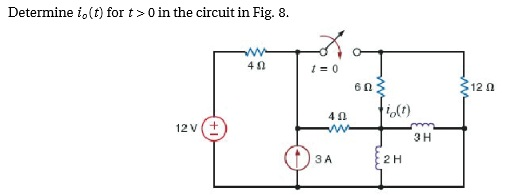 Determine i0(t) for t > 0 in the circuit in Fig. 8