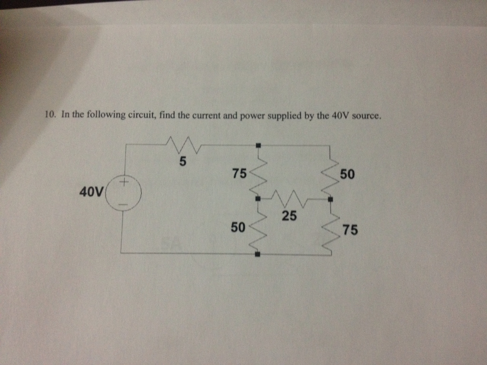 In the following circuit, find the current and pow