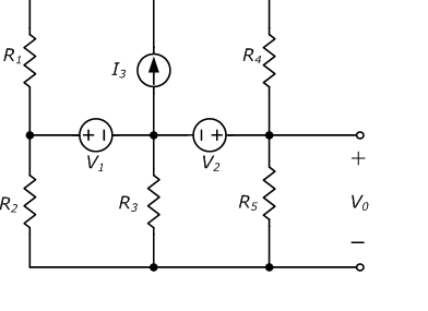 Using superposition, find V0 in the circuit show