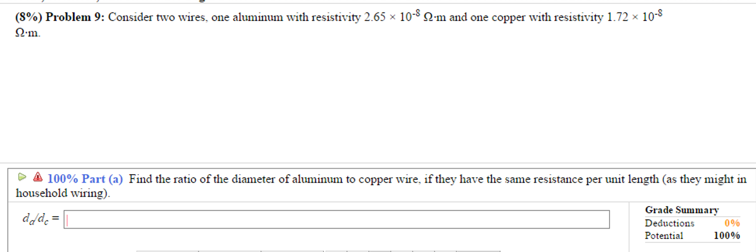 Solved: (S%) Problem 9: Consider Two Wires. One Aluminum W ...