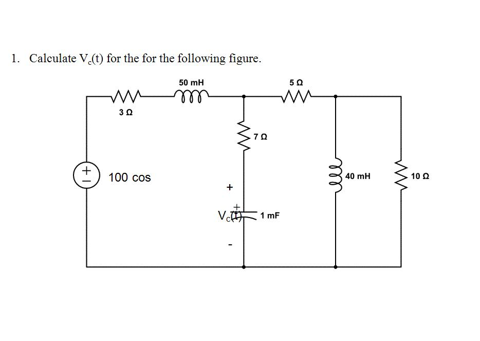 Calculate Vc(t) for the for the following figure.