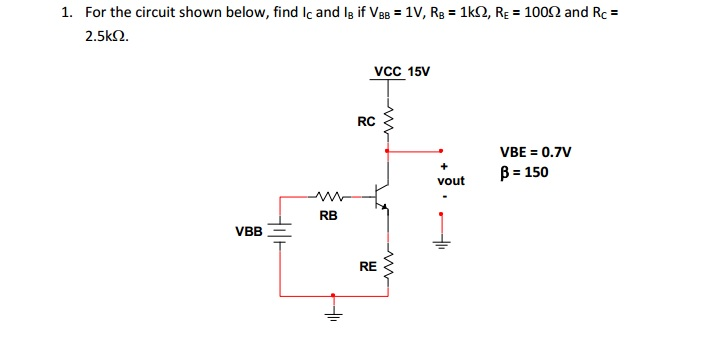 For the circuit shown below, find lc and lB if VBB