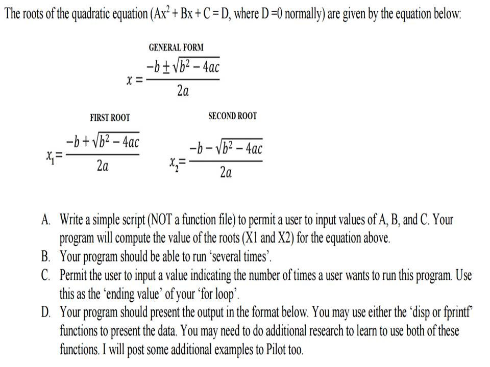 using matlab the roots of the quadratic equation com expert answer