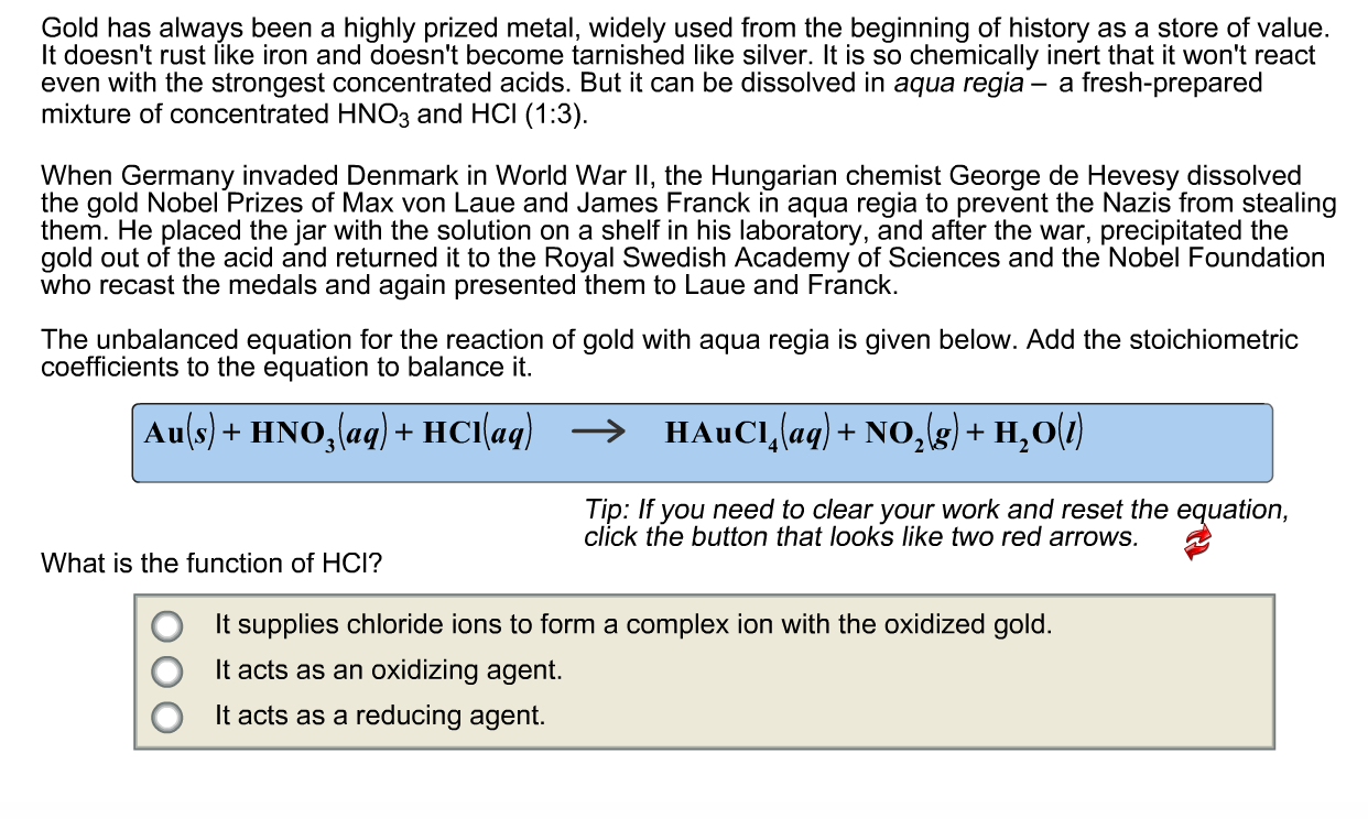 Solved the unbalanced equation for the reaction of gold w expert answer biocorpaavc