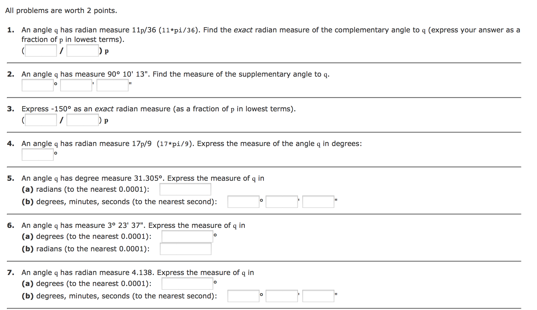 worksheet How To Find Complementary Angles all problems are worth 2 points  1 an angle q