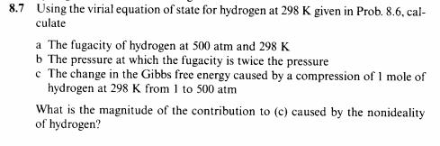Using the virial equation of state for hydrogen at