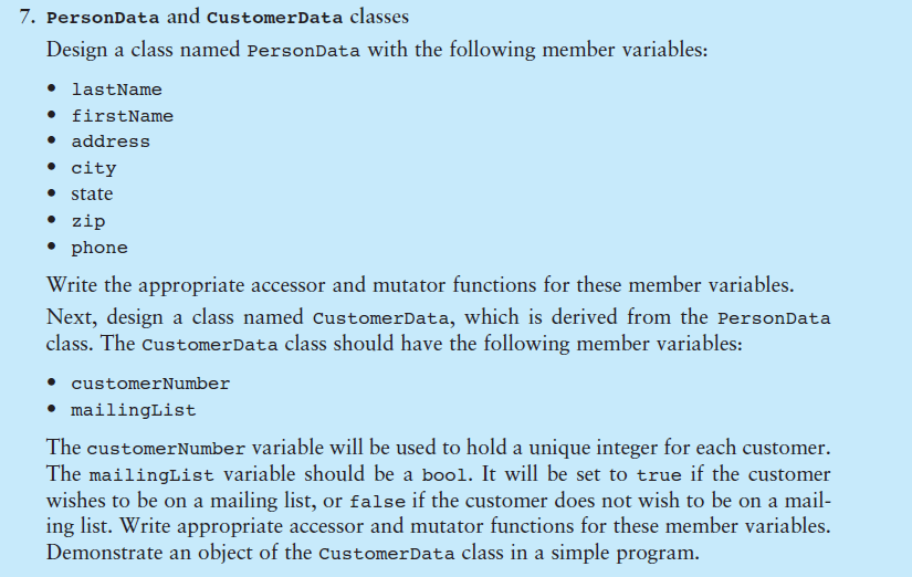 Design a class named PersonData with the following