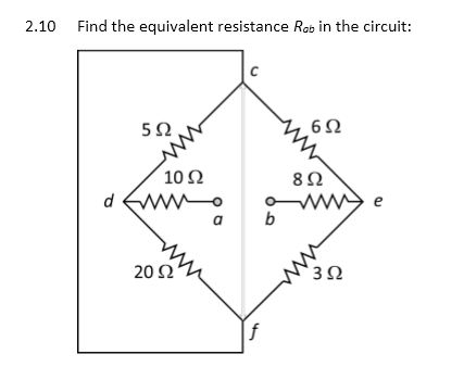 Find the equivalent resistance Rab in the circuit: