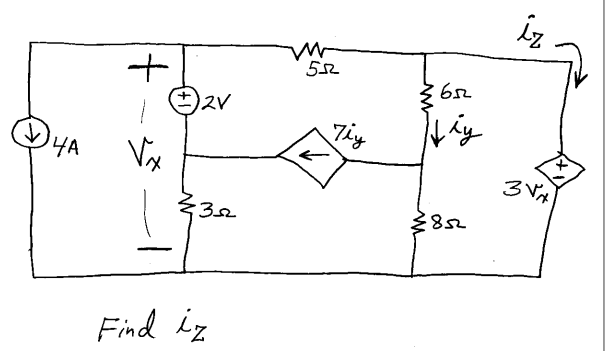 Find the Mesh currents (Note that vy is the voltag