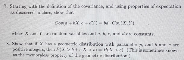 Starting With The Definition Of The Covariance, And Using Properties Of  Expectation As
