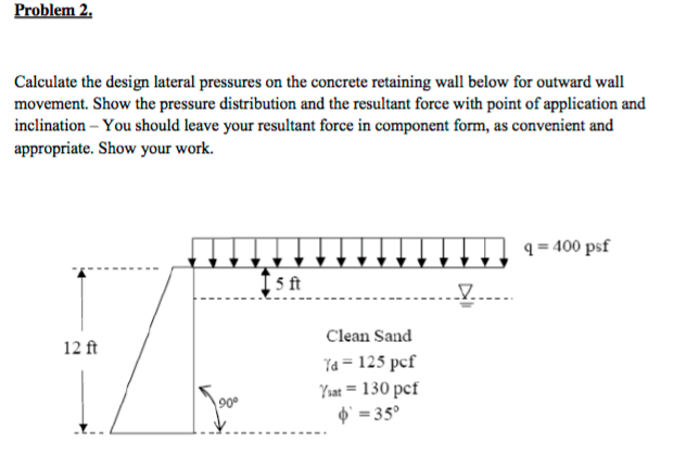 Calculate The Design Lateral Pressures On The Conc Cheggcom