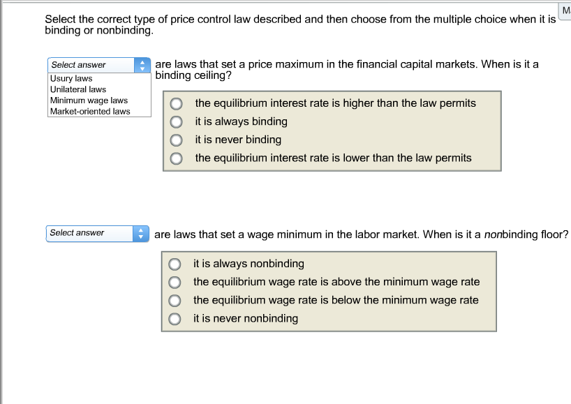Image For Select The Correct Type Of Price Control Law Described And Then  Choose From The