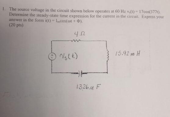 The source voltage in the circuit shown below oper