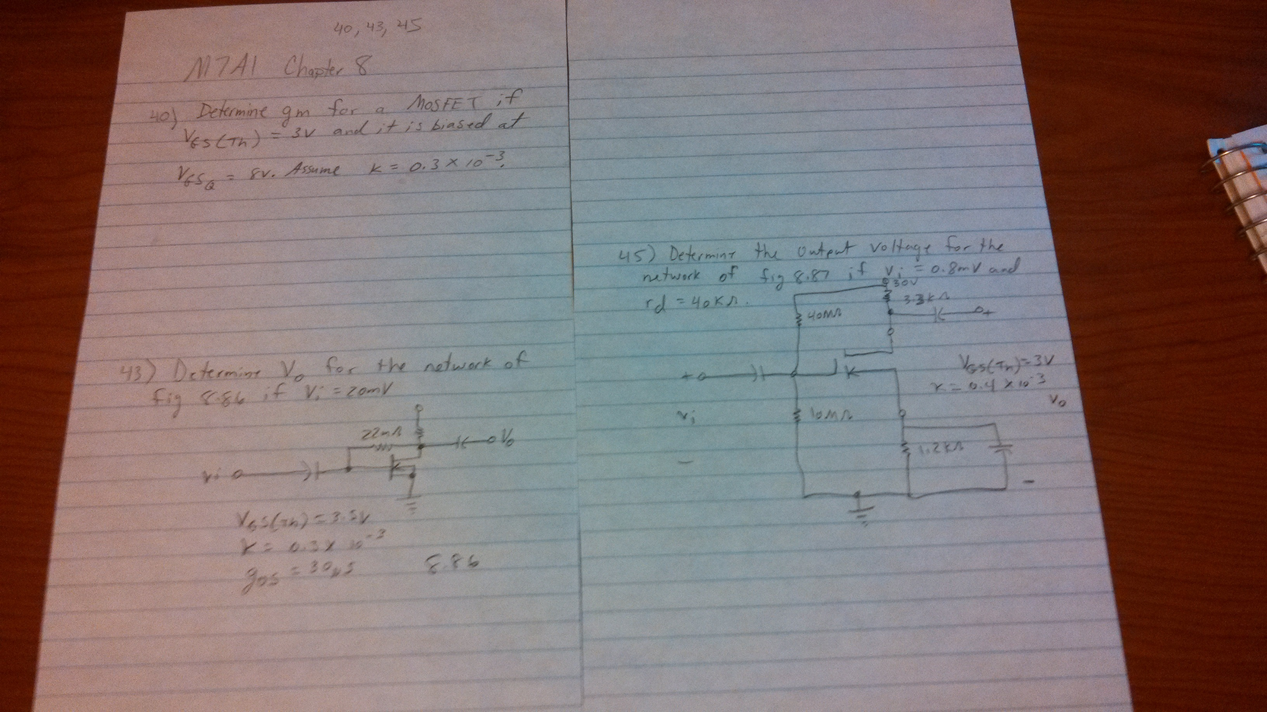 Determine gm for a mosfet if ves(tn) = 3v and it i