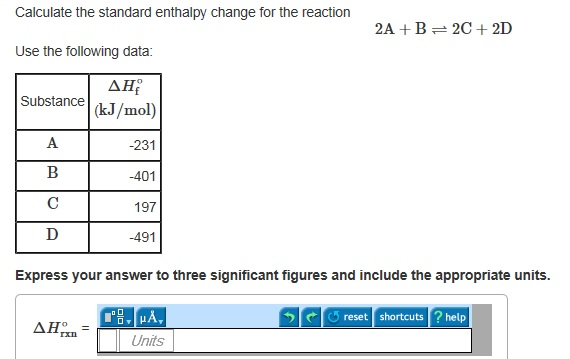 Calculate the standard enthalpy change for the rea