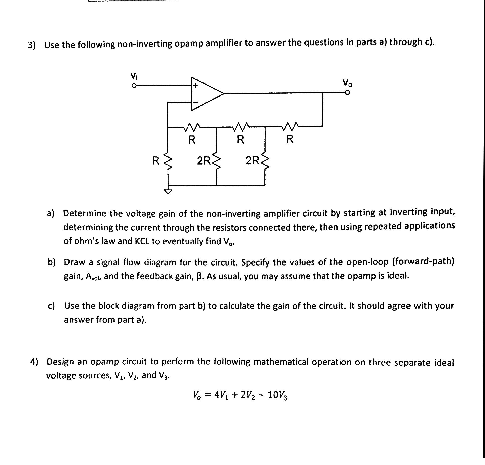 Solved 3 use the following non inverting opamp amplifier question 3 use the following non inverting opamp amplifier to answer the questions in parts a through c pooptronica Images