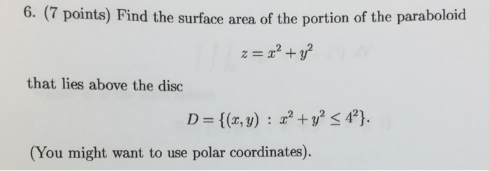 Find the surface area of the portion of the parabo chegg find the surface area of the portion of the parabo ccuart Choice Image