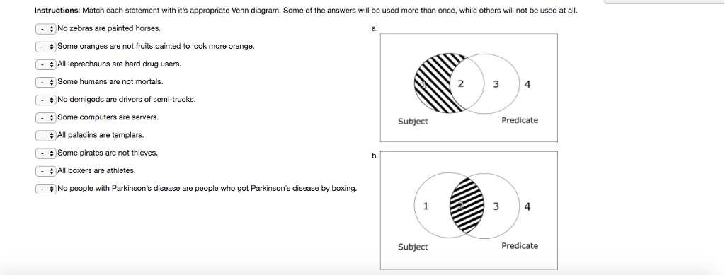 Solved instructions match each statement with its appro instructions match each statement with its appropriate venn diagram some of the answers will ccuart Choice Image