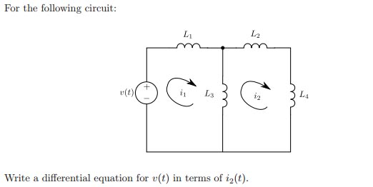 For the following circuit: Write a differential e