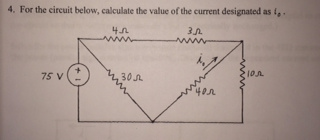 For the circuit below, calculate the value of the