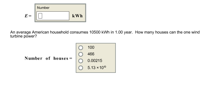 Number Eu003d KWh An Average American Household Consumes 10500 KWh In 1.00  Year. How
