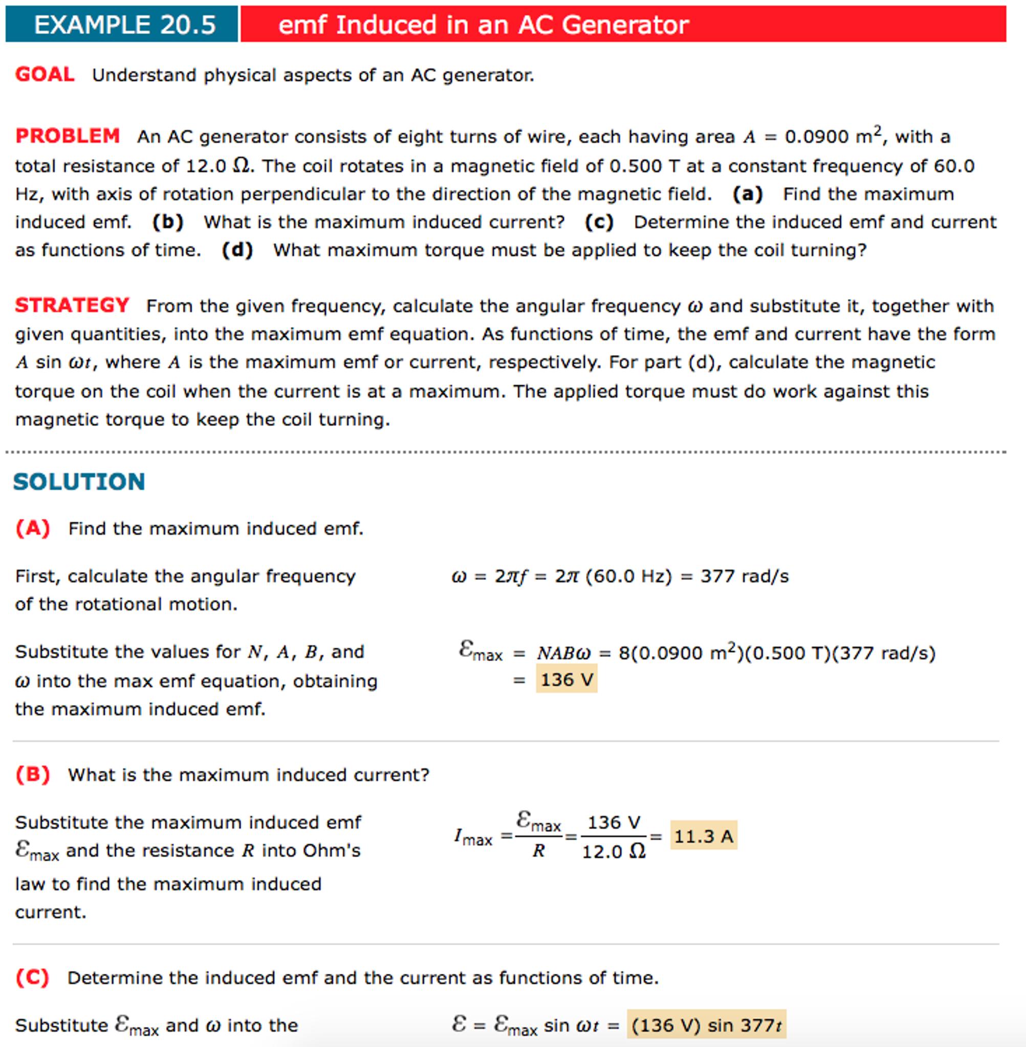 Emf Induced In An AC Generator EXAMPLE 20 5 GOAL U