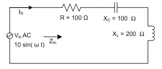 For the following series AC circuit, the angle of