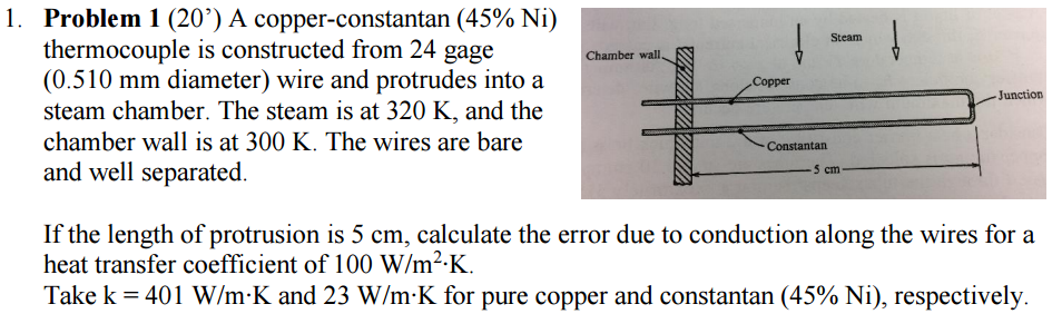 Solved a copper constantan 45 ni thermocouple is const question a copper constantan 45 ni thermocouple is constructed from 24 gage 0510 mm diameter wire an keyboard keysfo Gallery