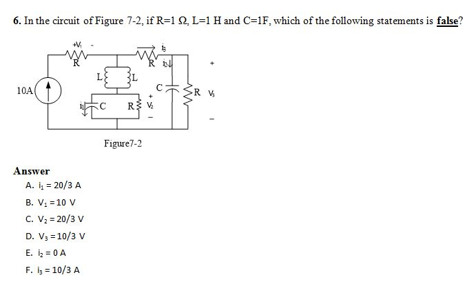 In the circuit of Figure 7-2, if R=1Ohm. L=1 H and