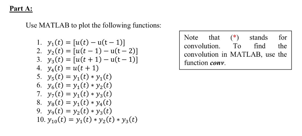 use matlab to plot the following functions y t com part a use matlab to plot the following functions note that