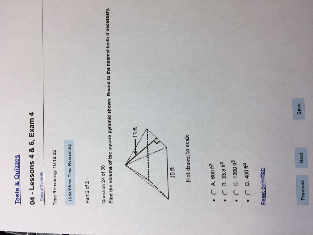 Find The Volume The Square Pyramid Shown Round